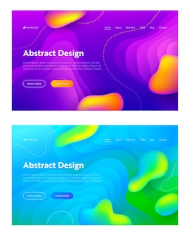 Purple blue abstract liquid drop shape set landing page background. futuristic wave motion gradient pattern. creative colorful neon art backdrop for website web page. flat cartoon vector illustration