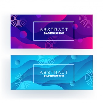 Purple and blue abstract wavy or liquid flow banner set