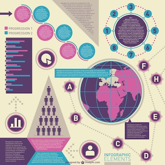 Purple and blue business infographic elements