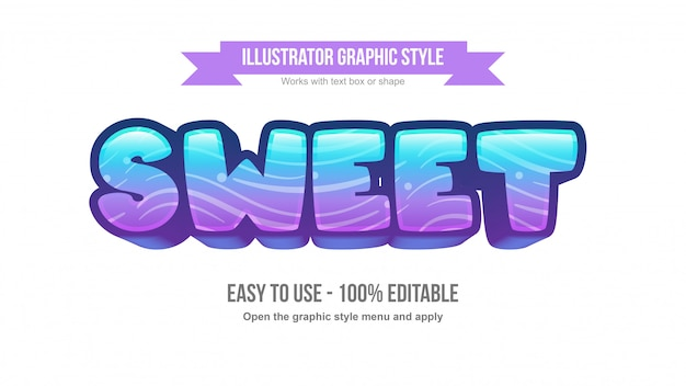 Purple blue colorful rounded cartoonish 3d editable text effect