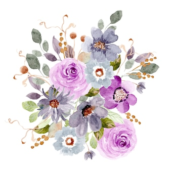 Purple blue floral arrangement watercolor