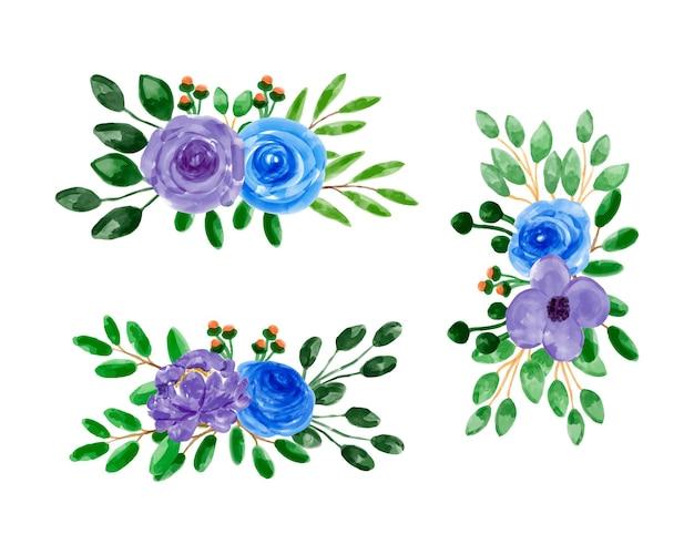 수채화와 보라색 파란색 꽃 꽃다발 컬렉션