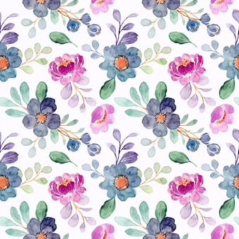 Purple blue floral watercolor seamless pattern