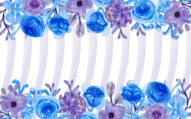 Purple blue flower background with watercolor