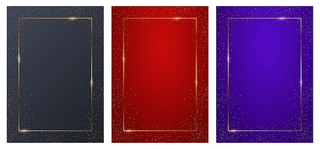 Purple, blue and red rectangular background set with golden frames