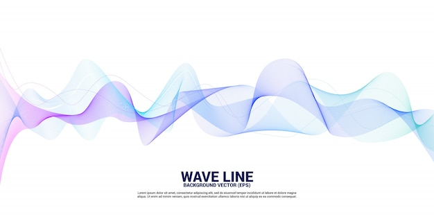 Purple and blue sound wave line curve on white background. element for theme technology futuristic vector