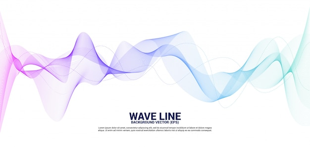 Purple and blue sound wave line curve on white background.