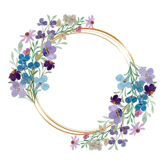 Purple blue wild floral wreath with watercolor