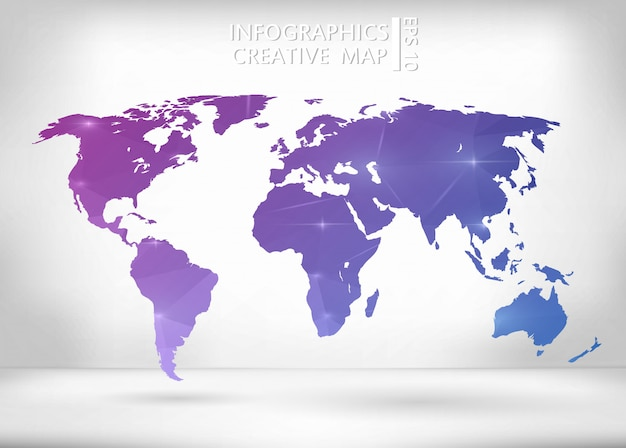 Purple and blue world map