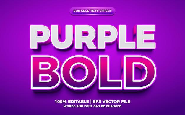Purple bold 3d editable text effect
