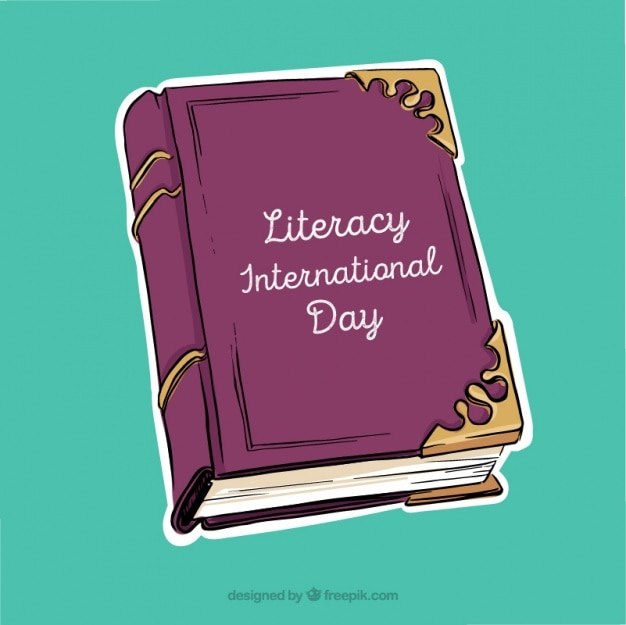 Purple book for international literacy day background