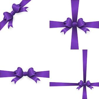 Purple bow and purple ribbon.