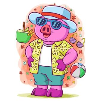 보라색 소년 돼지 휴가를하고 해변에서 모자와 선글라스를 사용