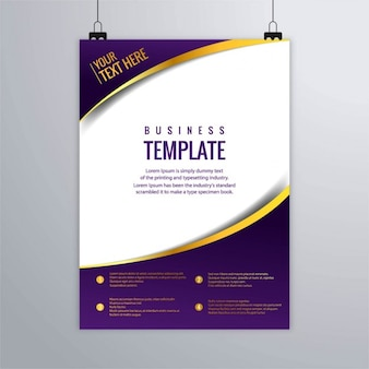 Purple brochure with gold lines