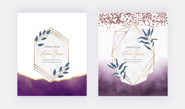 Purple brush stroke watercolor cards with geometric marble frames with leaves.