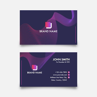 Purple business card template with abstract wave in front and back side.