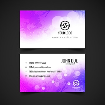 Purple business card in watercolor style