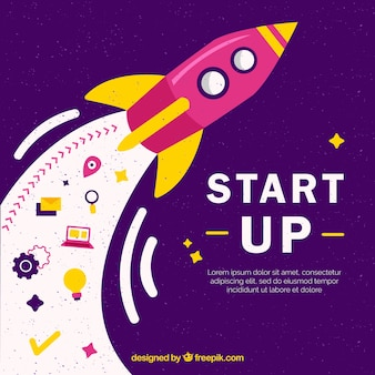 Purple business concept with rocket