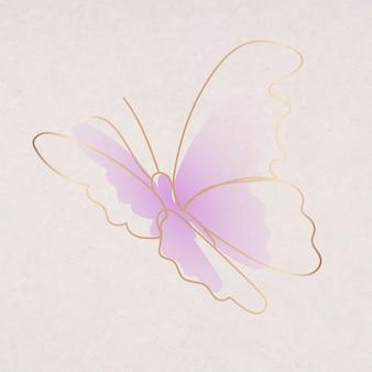 Adesivo farfalla viola, disegno artistico linea vettoriale gradiente estetico
