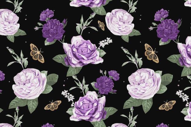 紫キャベツのバラと蝶の水彩パターン