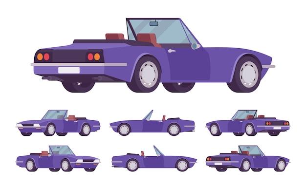 紫のカブリオレ車セット。ルーフが折りたたまれたロードスターの乗用車、コンバーチブルトップ、2シート、旅行と旅を楽しむための豪華なデザインのシティオート。スタイル漫画イラスト