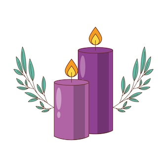 Фиолетовые свечи мультфильм с листьями, карикатура иллюстрации