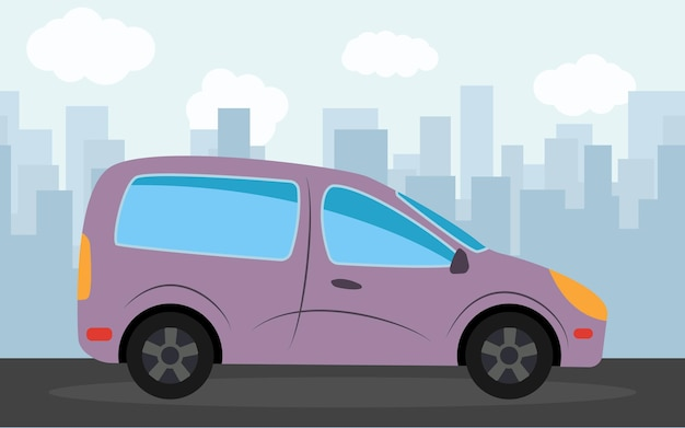 Фиолетовый автомобиль на фоне небоскребов днем. векторная иллюстрация.