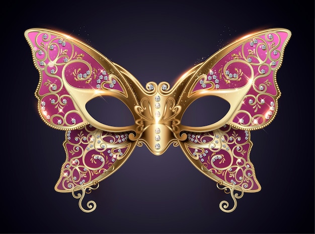 Purple carnival butterfly mask with diamonds in 3d style