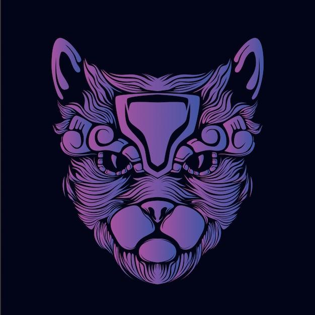 Фиолетовый кот голова иллюстрация