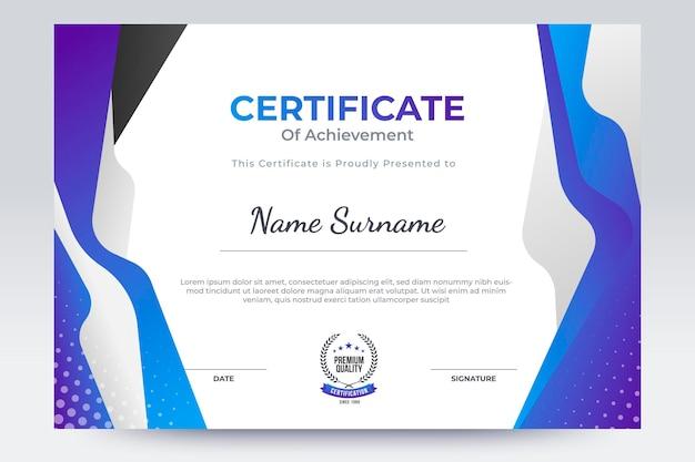 Purple certificate of achievement template. flat certificate template design with trend color.
