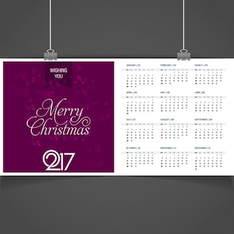 Purple christmas and 2017 calendar template