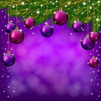 보라색 크리스마스와 새 해 배경