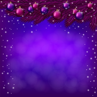 Purple christmas background with purple baubles