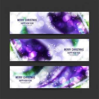 Purple christmas banners