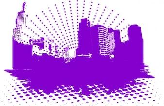 Purple city landscape