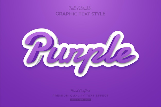 Purple clean modern editable text effect font style