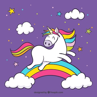 Purple clouds and rainbow background with jumping unicorn