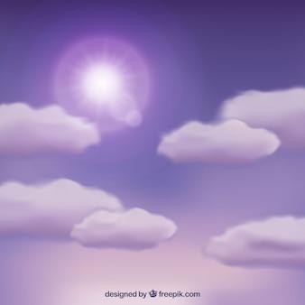 Priorità bassa viola del cielo nuvoloso
