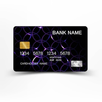 Purple color and credit card design.