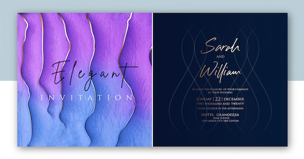 Purple color elegant wedding invitation