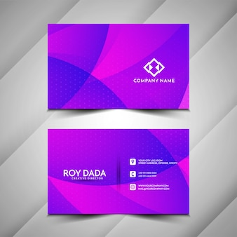 Визитная карточка в стиле фиолетовой волны