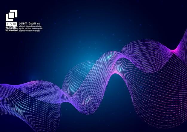 Purple color waves particle on blue