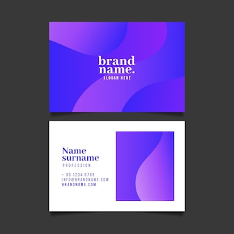 Purple company card with abstract shapes
