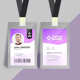 Purple company id card template with photo