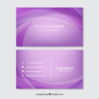 Purple corporate card with wavy shapes