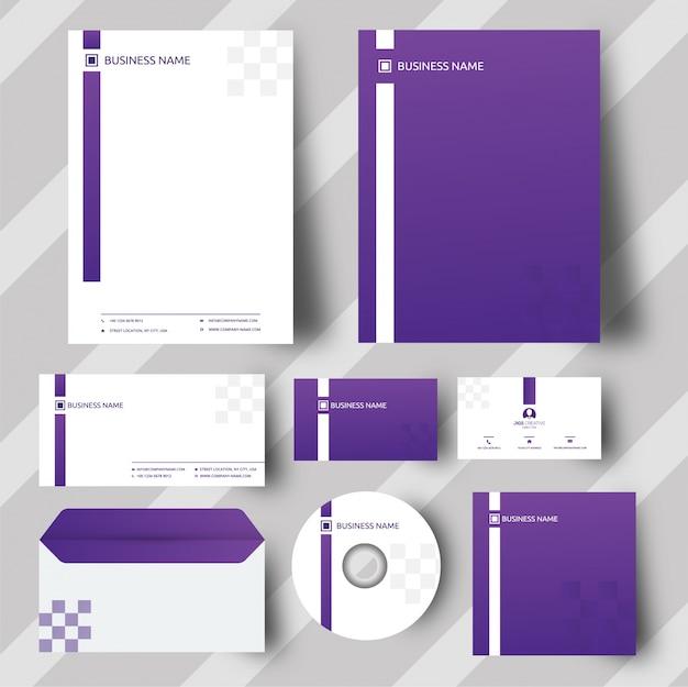 紫のコーポレートアイデンティティセット