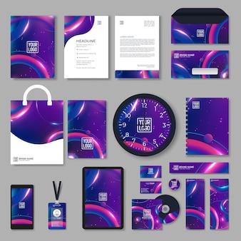 색상 기하학적 요소와 보라색 기업의 정체성 템플릿 디자인. 비즈니스 문구