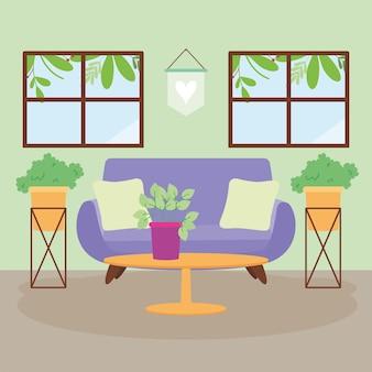 Purple couch in livingroom scene