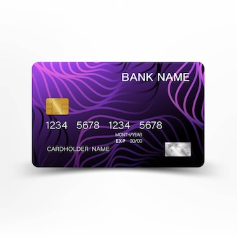Purple credit card design vector illustration .