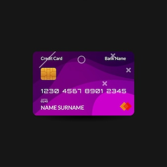Purple credit card template with gradient wave and editable text